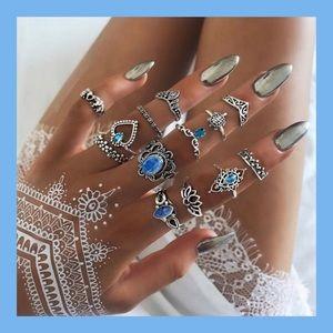 Jewelry - 13 Boho Ring Set with Fire Opal